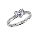 Picture of Eternity Engagement ring, 1/3 ct side diamonds