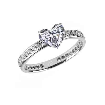 Anillo de compromiso Eternidad, diamantes laterales de 1/3 Ct.