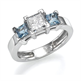 Picture of Two aquamarine side stones engagement ring