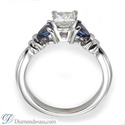 Picture of  Engagement ring, Two blue triangle Sapphires