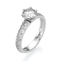 Picture of Leaf motif with diamonds engagement ring