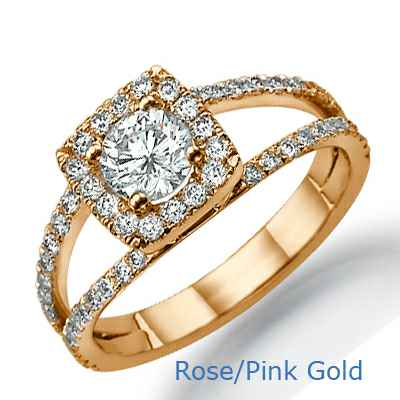 Split band Halo engagement ring