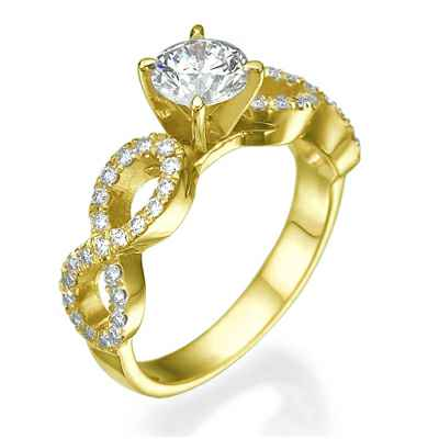 El conjunto Infinity Engagement ring micro Pave