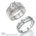 Foto Engastes de anillos de compromiso anchos, con Princesa de