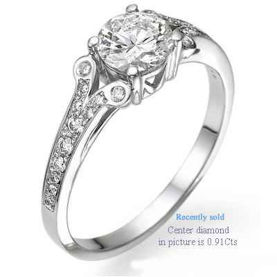 Engagement ring settings with side diamonds