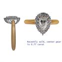 Foto Anillo de diamantes con forma de pera en racimo de