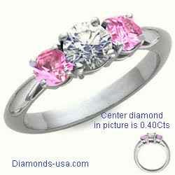 Anillo de compromiso con dos zafiros redondos rosados