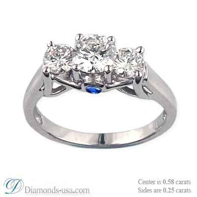 Designers 3 stone diamond ring for smaller rounds