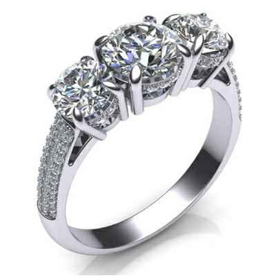 Three stones diamond ring encrusted with diamonds