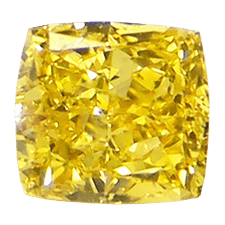 Picture of fancy vivid yellow Cushion diamond