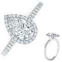 Foto Halo for Pear forma anillo de compromiso de diamantes de