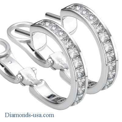 3 Carat Princess diamonds channel hoop earrings
