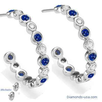 Diamonds and Blue Ceylon Sapphires Hoop Earrings