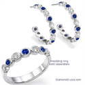Picture of Diamonds and Blue Ceylon Sapphires Hoop Earrings