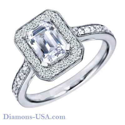 Micro Pave set Emerald Cut Halo engagement ring