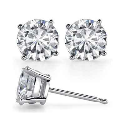 Round  diamond stud earrings.