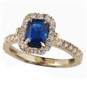 Foto Zafiro azul Esmeralda de 1.12 quilate con diamantes de 1/3 Ct. de