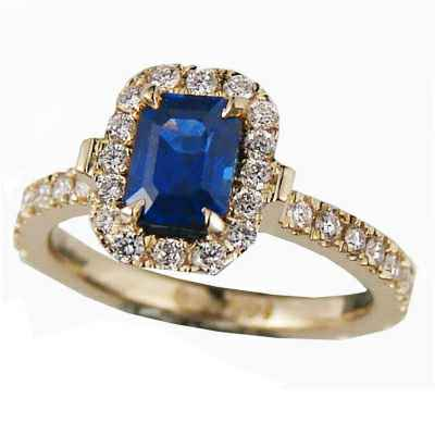 1.12 carat Blue Sapphire Emerald with 1/3 Ct diamonds