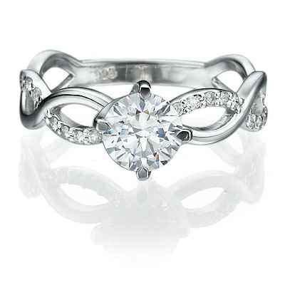 Interlacing together engagement ring