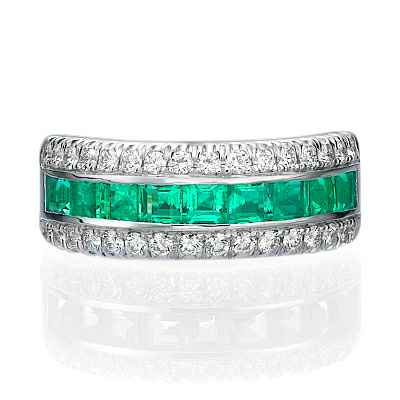 Wedding or anniversary ring with Green Emeralds Princess cut  & Round diamonds