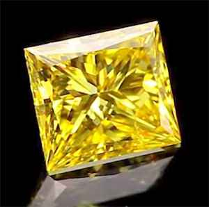 Picture of 0.71 Carats, Princess Diamond with Very Good Cut,Fancy vivid  Yellow Color, VS1, and Certified By EGS/EGL