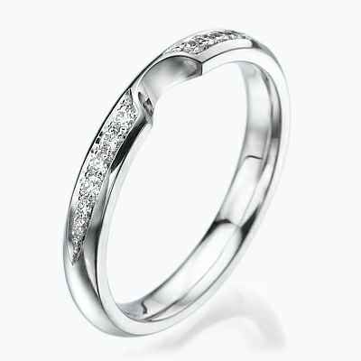 Notched -Wedding or anniversary ring with side diamonds