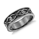 Picture of 7 mm Men wedding or anniversary ring with black Rhodium