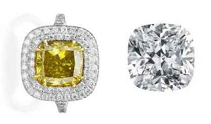 Cushion cut diamonds, loose and set