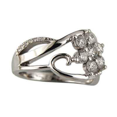 Flakes of diamonds engagement ring