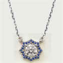 Picture of Halo Royal Blue Sapphires pendant