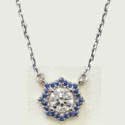Halo Royal Blue Sapphires pendant