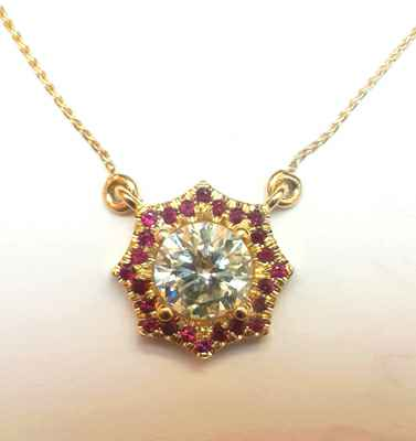 Halo Red Rubies pendant-The Sun