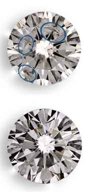 Clarity enhanced diamonds, picture before and after