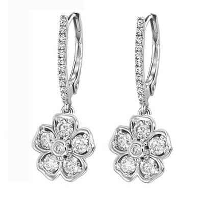 Pendientes de diseñadores en forma de flor, diamantes de 1 quilate