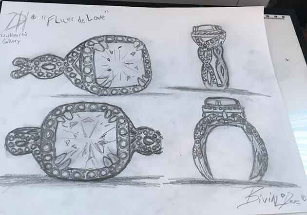 Picture of drawing for custom engagement ring design