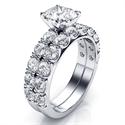 Foto 1.36 quilates piedras laterales juego de anillos de novia de