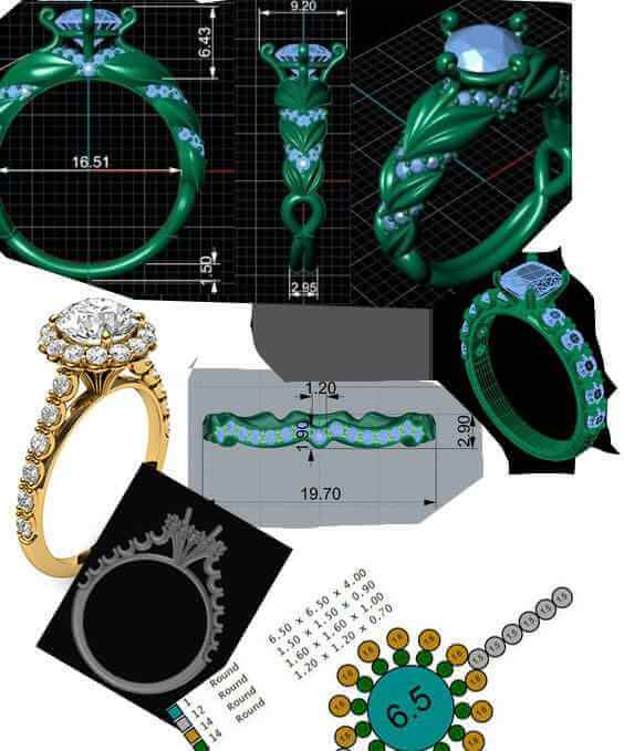 Customizing engagement ring steps from sketch to finished ring