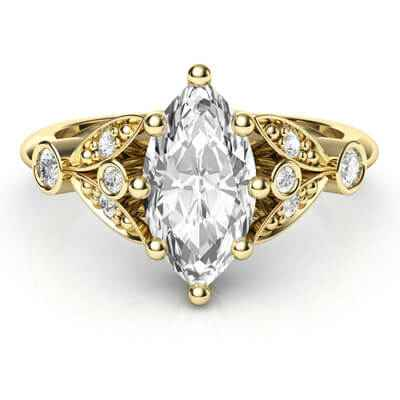 Victorian style Marquise engagement ring,