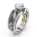 Foto Exclusivo anillo de compromiso réplica de estilo Vintage de