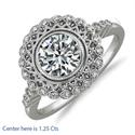 Foto Art Deco. Anillo de compromiso de diamante ESI1 con mina de diamante de 0,45 quilates. de
