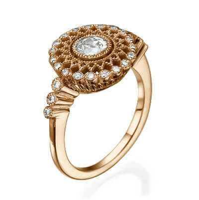 Art Deco 0.45 carat old mine diamond ESI1 diamond engagement ring
