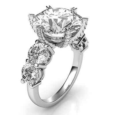 Anillo de compromiso para diamantes grandes, diamantes laterales de 1 Ct.