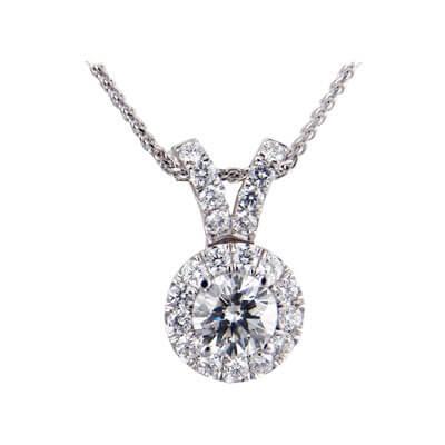 Halo diamonds Pendant 3/4 carat sides.