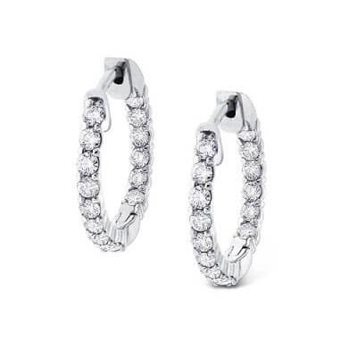 Diamond hoop earrings, 1.80 carats.