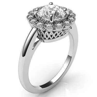 Anillo de compromiso de diamantes de cabeza de halo estilo vintage