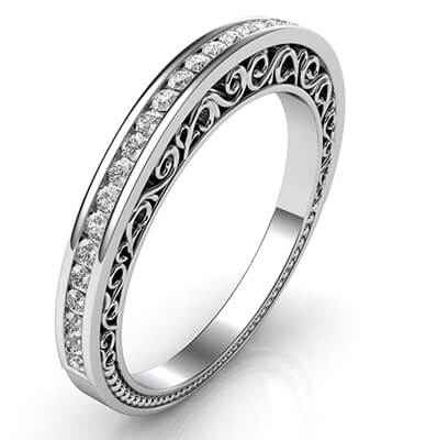 Designers matching wedding band with 0.20Cts diamonds