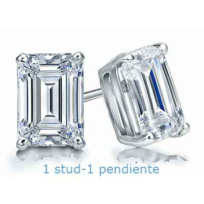 Men Emerald cut diamond stud