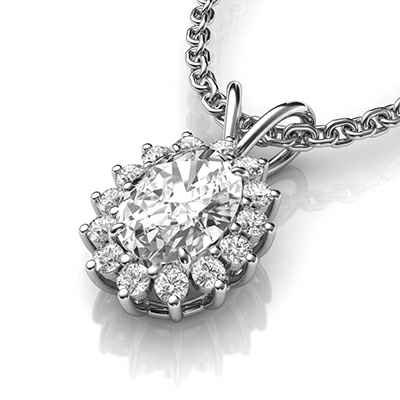 Cluster pendant for Oval diamonds