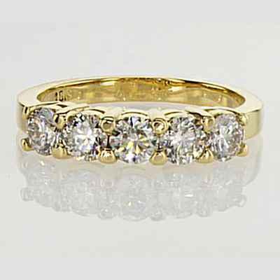 1.25 carat five round diamonds anniversary ring