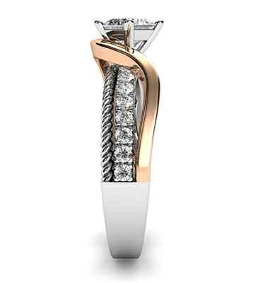 Anillo de compromiso de diseño personalizado a medida. Con 18 diamantes 0.27 quilates